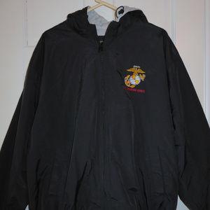 U.S. Marine Corps Black Hooded Fleece-lined Jacket